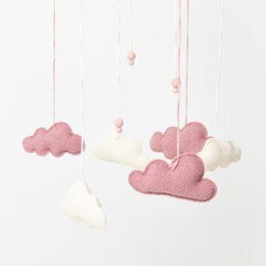 Pilvimobile, valkoinen ja roosa